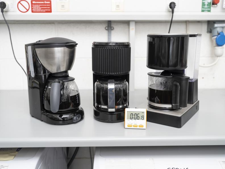 Tiden for å trakte 5 kopper eller 650 ml kaffe ble målt. Foto: Niel Long